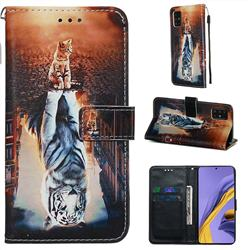 Cat and Tiger Matte Leather Wallet Phone Case for Samsung Galaxy A51 4G