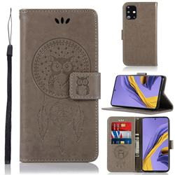 Intricate Embossing Owl Campanula Leather Wallet Case for Samsung Galaxy A51 - Grey