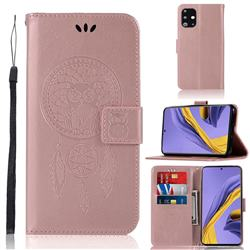 Intricate Embossing Owl Campanula Leather Wallet Case for Samsung Galaxy A51 - Rose Gold