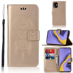 Intricate Embossing Owl Campanula Leather Wallet Case for Samsung Galaxy A51 - Champagne