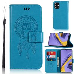 Intricate Embossing Owl Campanula Leather Wallet Case for Samsung Galaxy A51 - Blue
