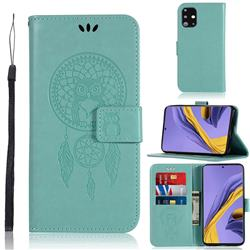 Intricate Embossing Owl Campanula Leather Wallet Case for Samsung Galaxy A51 - Green