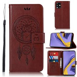 Intricate Embossing Owl Campanula Leather Wallet Case for Samsung Galaxy A51 - Brown