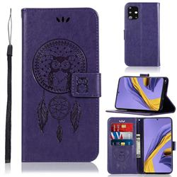 Intricate Embossing Owl Campanula Leather Wallet Case for Samsung Galaxy A51 - Purple
