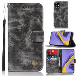 Luxury Retro Leather Wallet Case for Samsung Galaxy A51 - Gray
