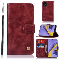 Luxury Retro Leather Wallet Case for Samsung Galaxy A51 - Wine Red