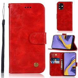 Luxury Retro Leather Wallet Case for Samsung Galaxy A51 - Red