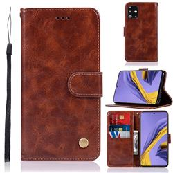 Luxury Retro Leather Wallet Case for Samsung Galaxy A51 - Brown