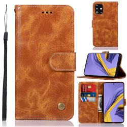 Luxury Retro Leather Wallet Case for Samsung Galaxy A51 - Golden