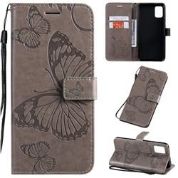 Embossing 3D Butterfly Leather Wallet Case for Samsung Galaxy A51 4G - Gray