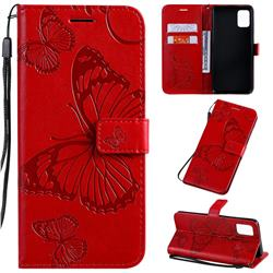 Embossing 3D Butterfly Leather Wallet Case for Samsung Galaxy A51 4G - Red