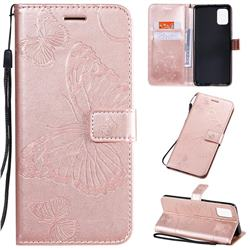 Embossing 3D Butterfly Leather Wallet Case for Samsung Galaxy A51 4G - Rose Gold