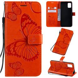 Embossing 3D Butterfly Leather Wallet Case for Samsung Galaxy A51 4G - Orange