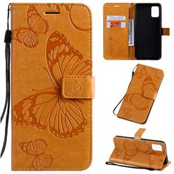 Embossing 3D Butterfly Leather Wallet Case for Samsung Galaxy A51 4G - Yellow