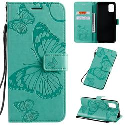Embossing 3D Butterfly Leather Wallet Case for Samsung Galaxy A51 4G - Green