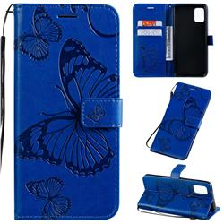 Embossing 3D Butterfly Leather Wallet Case for Samsung Galaxy A51 4G - Blue