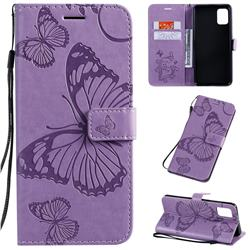Embossing 3D Butterfly Leather Wallet Case for Samsung Galaxy A51 4G - Purple