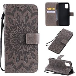 Embossing Sunflower Leather Wallet Case for Samsung Galaxy A51 4G - Gray