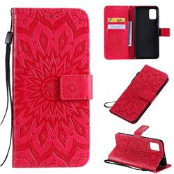 Embossing Sunflower Leather Wallet Case for Samsung Galaxy A51 4G - Red