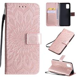 Embossing Sunflower Leather Wallet Case for Samsung Galaxy A51 4G - Rose Gold
