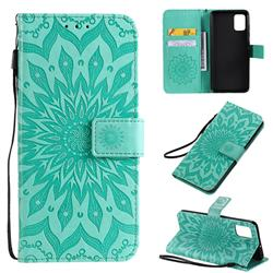 Embossing Sunflower Leather Wallet Case for Samsung Galaxy A51 4G - Green