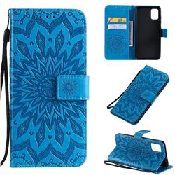 Embossing Sunflower Leather Wallet Case for Samsung Galaxy A51 4G - Blue