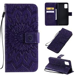 Embossing Sunflower Leather Wallet Case for Samsung Galaxy A51 4G - Purple