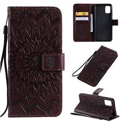 Embossing Sunflower Leather Wallet Case for Samsung Galaxy A51 4G - Brown