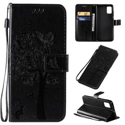 Embossing Butterfly Tree Leather Wallet Case for Samsung Galaxy A51 - Black