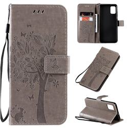 Embossing Butterfly Tree Leather Wallet Case for Samsung Galaxy A51 4G - Grey