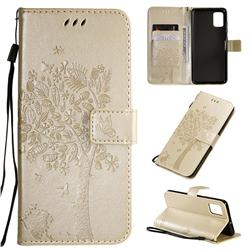Embossing Butterfly Tree Leather Wallet Case for Samsung Galaxy A51 4G - Champagne