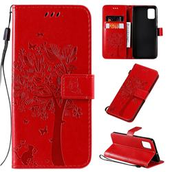 Embossing Butterfly Tree Leather Wallet Case for Samsung Galaxy A51 - Red