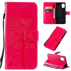 Embossing Butterfly Tree Leather Wallet Case for Samsung Galaxy A51 4G - Rose