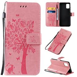Embossing Butterfly Tree Leather Wallet Case for Samsung Galaxy A51 4G - Pink