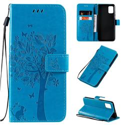 Embossing Butterfly Tree Leather Wallet Case for Samsung Galaxy A51 4G - Blue