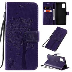 Embossing Butterfly Tree Leather Wallet Case for Samsung Galaxy A51 - Purple