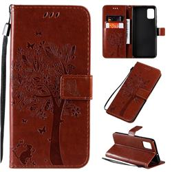 Embossing Butterfly Tree Leather Wallet Case for Samsung Galaxy A51 - Coffee
