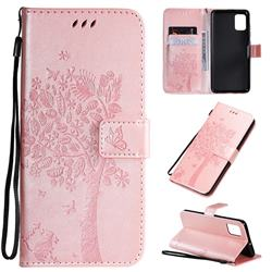 Embossing Butterfly Tree Leather Wallet Case for Samsung Galaxy A51 4G - Rose Pink
