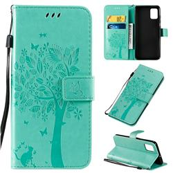 Embossing Butterfly Tree Leather Wallet Case for Samsung Galaxy A51 4G - Cyan