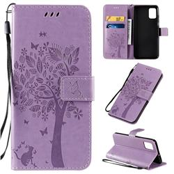 Embossing Butterfly Tree Leather Wallet Case for Samsung Galaxy A51 4G - Violet