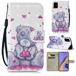 Love Panda 3D Painted Leather Wallet Phone Case for Samsung Galaxy A51 4G