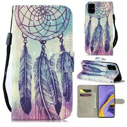 Feather Wind Chimes 3D Painted Leather Wallet Phone Case for Samsung Galaxy A51 4G