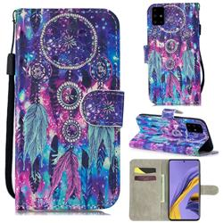 Star Wind Chimes 3D Painted Leather Wallet Phone Case for Samsung Galaxy A51 4G