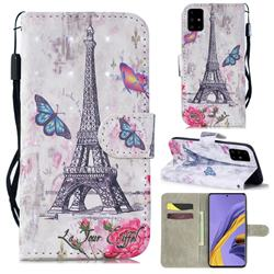 Paris Tower 3D Painted Leather Wallet Phone Case for Samsung Galaxy A51 4G