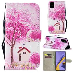 Tree House 3D Painted Leather Wallet Phone Case for Samsung Galaxy A51 4G