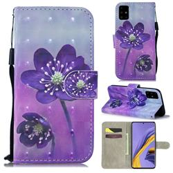 Purple Flower 3D Painted Leather Wallet Phone Case for Samsung Galaxy A51 4G