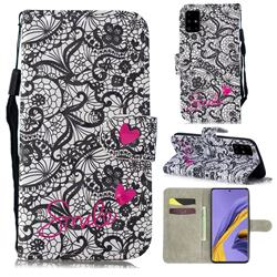 Lace Flower 3D Painted Leather Wallet Phone Case for Samsung Galaxy A51
