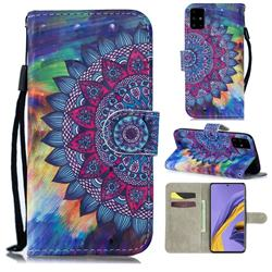 Oil Painting Mandala 3D Painted Leather Wallet Phone Case for Samsung Galaxy A51