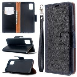 Classic Luxury Litchi Leather Phone Wallet Case for Samsung Galaxy A51 4G - Black
