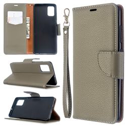 Classic Luxury Litchi Leather Phone Wallet Case for Samsung Galaxy A51 4G - Gray